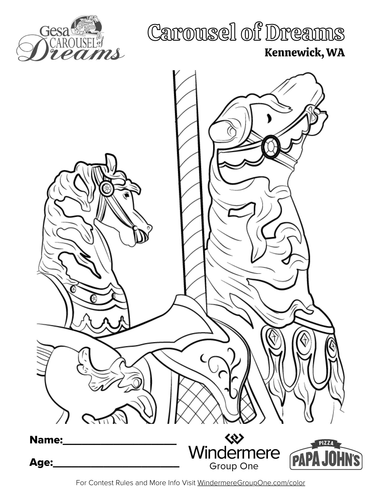 Carousel of Dreams Coloring Page
